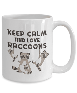 Cute Raccoon Coffee Mug Keep Calm and Love Raccoons Funny Racoon Ceramic Gift Mugs Cup