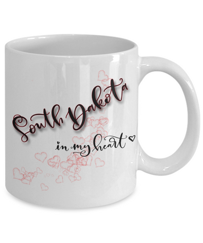 Image of State of South Dakota in My Heart Mug Patriotic USA Unique Novelty Birthday Christmas Gifts Ceramic Coffee Tea Cup