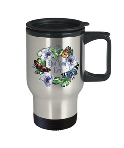Floral Travel Mug Best Mom Ever Butterfly Coffee Mug Gift for Mother
