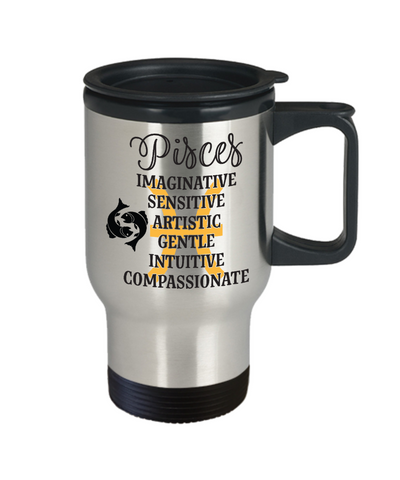 Pisces Zodiac Travel Mug Gift Fun Novelty Birthday Coffee Cup