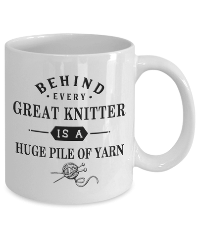 Image of Knitting Gift, Behind Every Great Knitter is a Huge Pile of Yarn, Gift for Knitting Enthusiast