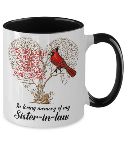 Sister-in-law Cardinal Memorial Coffee Mug Angels Appear Keepsake Two-Tone Cup