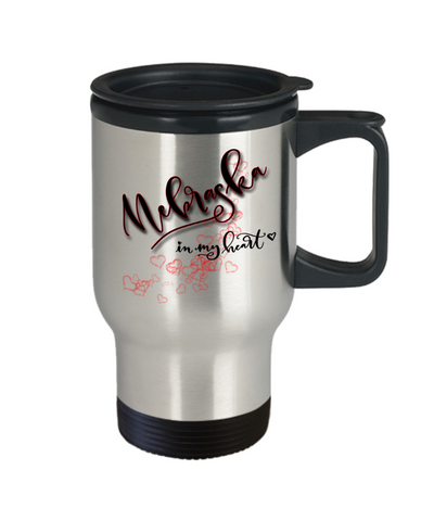 Image of State of Nebraska in My Heart Travel Mug With Lid Unique Novelty Birthday Christmas Gifts Coffee Tea Cup