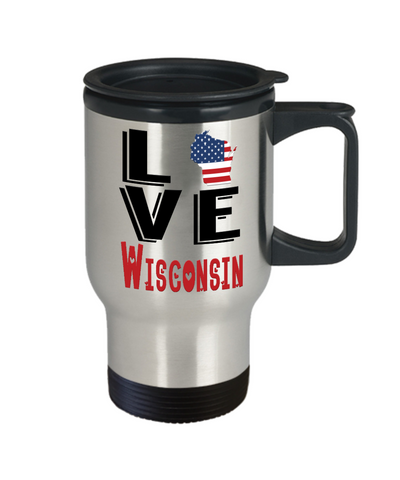 Image of Love Wisconsin State Travel Mug Gift Novelty American Keepsake Coffee Cup