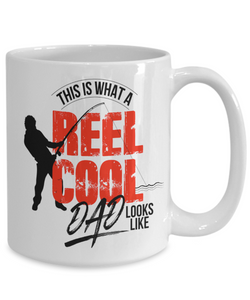 Fishing Gift for Dad This is What A Reel Cool Dad Looks Like Father's Day Gift Birthday Coffee Mug