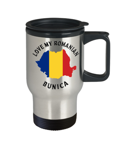 Love My Romanian Bunica Travel Mug With Lid Novelty Birthday Gift for Partner Coffee Cup