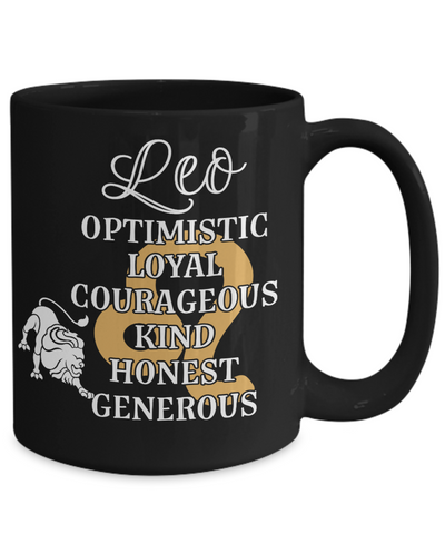 Image of Leo Zodiac Black Mug Gift Fun Novelty Birthday Coffee Cup