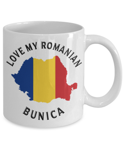 Love My Romanian Bunica Mug Novelty Birthday Gift for Partner Ceramic Coffee Cup