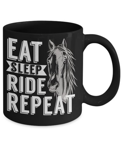 Eat Sleep Ride Repeat Horse Addict Black Mug Gift Equine Lover  Novelty Coffee Cup