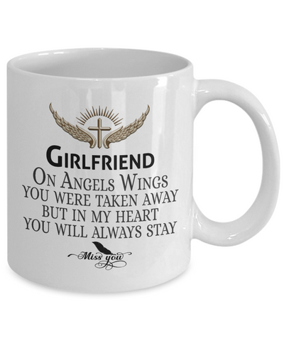 Image of Girlfriend Angel Wings In Loving Memory Mug Gift Memorial Coffee Cup