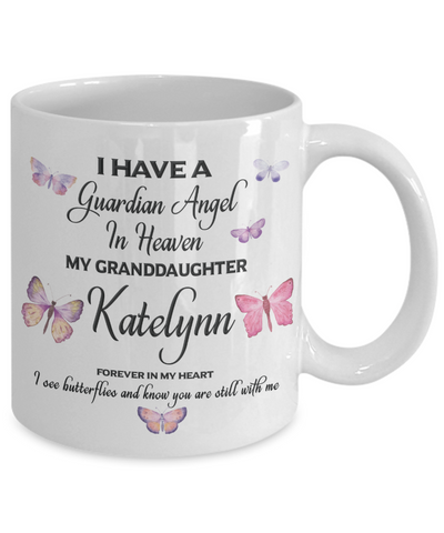 Guardian Angel Katelynn Memorial Butterfly Mug Gift Sympathy Remembrance Cup