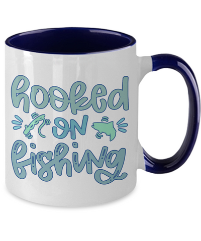 Image of Hooked on Fishing Coffee Mug Fisherman Two Tone Ceramic Cup
