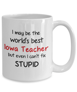 Iowa Teacher Occupation Mug Funny World's Best Can't Fix Stupid Unique Novelty Birthday Christmas Gifts Ceramic Coffee Cup