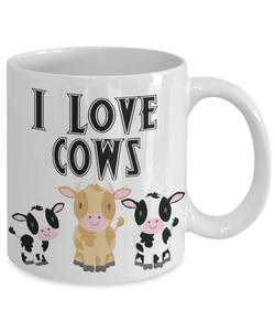 I Love Cows Coffee Mug Funny Cow Ceramic Mug Cup Cow Lover Gifts