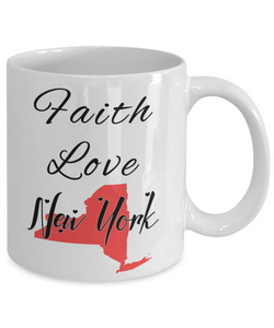 Patriotic USA Gift Mug Faith Love New York Unique Novelty Birthday Christmas Ceramic Coffee Tea Cup
