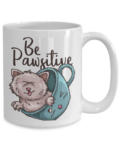 Be Pawsitive Cat Mug Animal Lover Novelty Birthday Christmas Humor Quote Gifts Unique Work Ceramic Coffee Gifts for Men Women