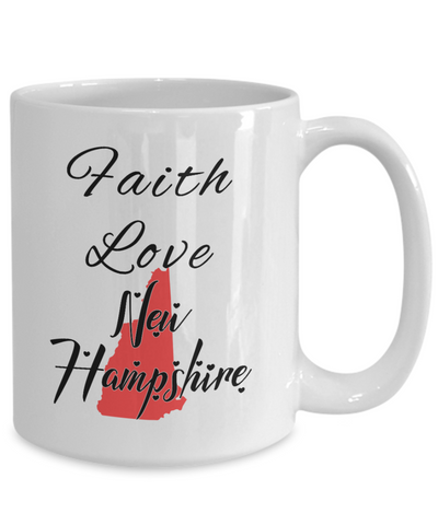 Image of Patriotic USA Gift Mug Faith Love New Hampshire Unique Novelty Birthday Christmas Ceramic Coffee Tea Cup