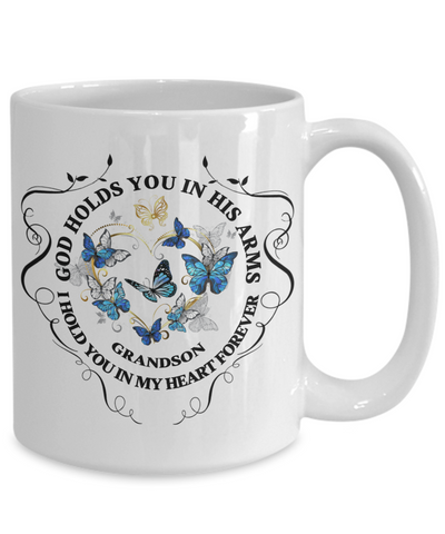 Grandson Memorial Gift Mug God Holds You In His Arms Remembrance Sympathy Mourning Cup