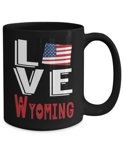 Image of Love Wyoming State Black Mug Gift Novelty American Keepsake Coffee Cup