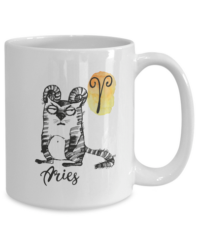 "Image of Funny Zodiac Cat Mug "" Aries"" Cat Mug for Aries People - March 21 - April 19 Birthday Mugs"