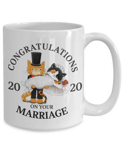 Congratulations Marriage 2020 Cat Mug Gift Wedding Mr & Mrs Fur Lovers Novelty Cup