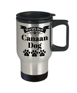 World's Best Canaan Dog Dad Insulated Travel Mug With Lid Fun Novelty Birthday Gift Work Coffee Cup