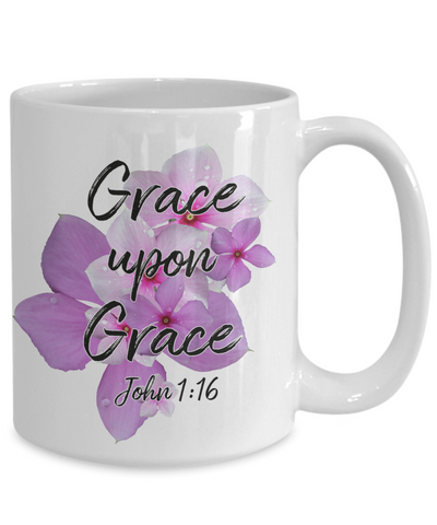 Image of Grace Upon Grace John 1:16 Mug Faith Gift Scripture Bible Verse Coffee Mug Gifts
