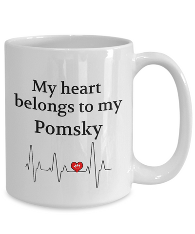 Image of My Heart Belongs to My Pomsky Mug Dog Lover Novelty Birthday Gifts Unique Work Ceramic Coffee Cup Gifts for Men Women