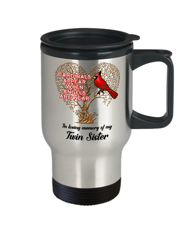 Image of Twin Sister Cardinal Memorial Coffee Travel Mug Angels Appear Keepsake 14oz Cup