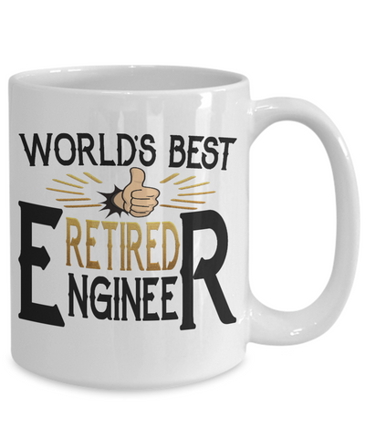 World's Best Retired Engineer Mug Gift Retirement Appreciation Occupation Cup