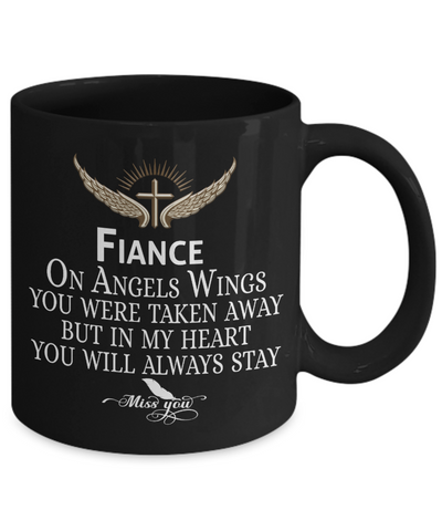 Fiance Angel Wings In Loving Memory Black Mug Gift Memorial Coffee Cup