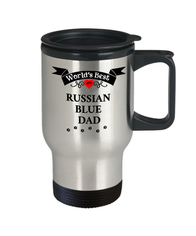 Image of World's Best Russian Blue Dad Cup Unique Cat Travel Coffee Mug With Lid Gifts for Men