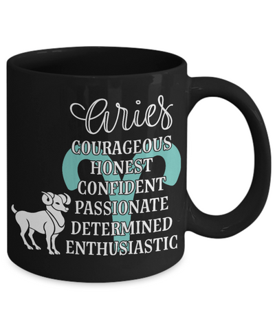 Image of Aries Zodiac Black Mug Gift Fun Novelty Birthday Coffee Cup