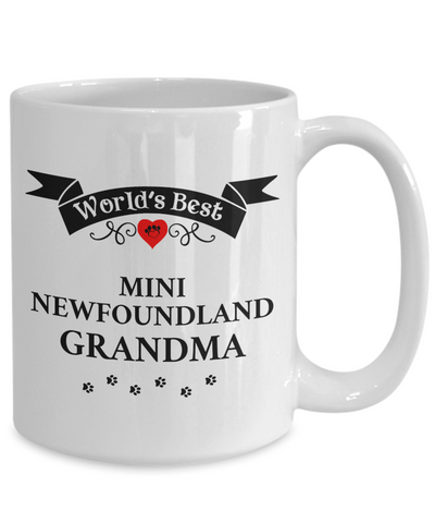 Image of World's Best Mini Newfoundland Grandma Cup Unique Ceramic Dog Gifts for Women