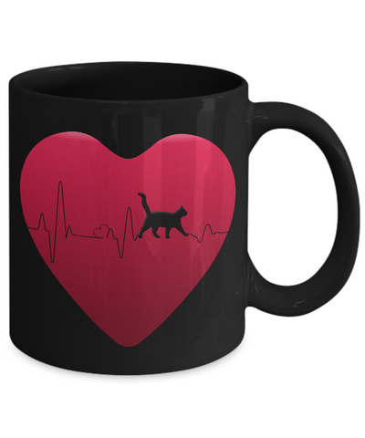 Love Cats Gift, Cat Heartbeat Gift Mug for Cat Lovers