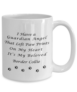 Border Collie Memorial Gift  Guardian Angel That Left Paw Prints Border Collie Pet Remembrance Gifts