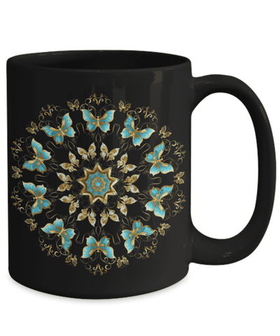 Image of Golden Butterfly Gift for Women A Mandala of Turquoise Butterfly Novelty Coffee Mug Gift
