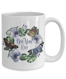 The Best Mom Ever Mug Gifts Floral and Butterfly Coffee Cup For Mom Floral Ceramic Mug