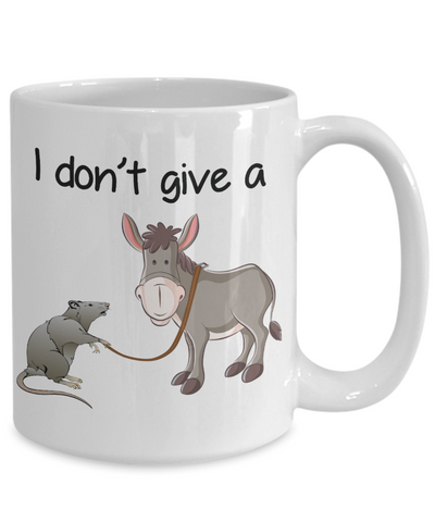Novelty Birthday Gifts Mug for Men Women I Don't Give a Rat's Ass Funny Humor Quotes Unique Work Coffee Cup Dad Mom Grandpa