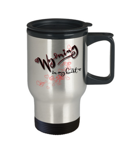 State of Wyoming in My Heart Travel Mug With Lid Unique Novelty Birthday Christmas Gifts Coffee Tea Cup