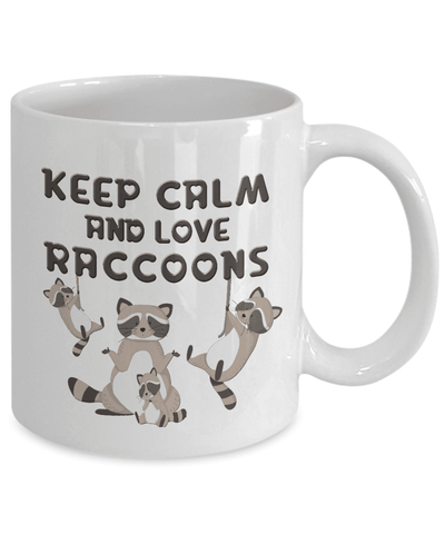 Image of Cute Raccoon Coffee Mug Keep Calm and Love Raccoons Funny Racoon Ceramic Gift Mugs Cup