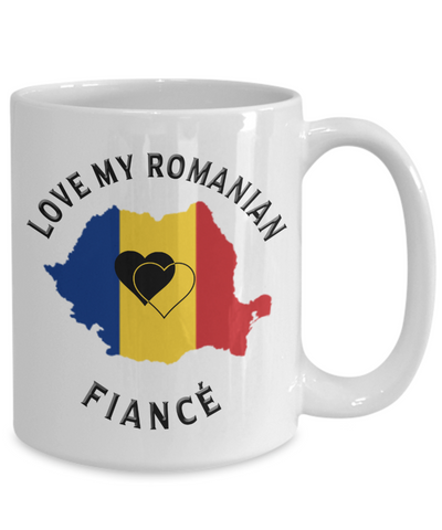 Love My Romanian Fiancé Mug Novelty Birthday Gift for Partner Ceramic Coffee Cup