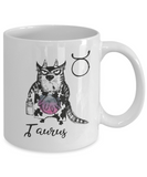 "Funny Zodiac Cat Mug "" Taurus"" Cat Mug for Taurus People - April 20 - May 20 Birthday Mugs"