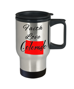Patriotic USA Gift Travel Mug With Lid Faith Love Colorado Unique Novelty Birthday Christmas Ceramic Coffee Tea Cup