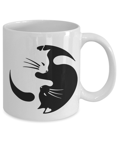Image of Cat Yin Yang Coffee Mug Gift for Crazy Cat Lady Cat Lovers and Cat Enthusiasts Mug Gift Ideas