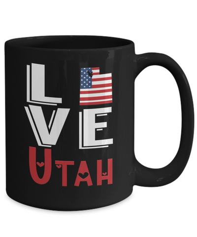 Love Utah State Black Mug Gift Novelty American Keepsake Coffee Cup