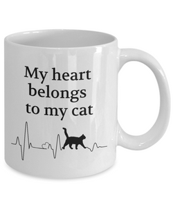 My Heart Belongs to My Cat Mug Animal Lover Novelty Birthday Gifts Unique Gifts