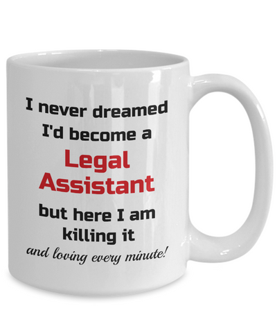 Image of Occupation Mug I Never Dreamed I'd Become a Legal Assistant Unique Novelty Birthday Christmas Gifts Humor Quote Ceramic Coffee Tea Cup