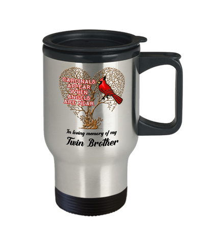 Image of Twin Brother Cardinal Memorial Coffee Travel Mug Angels Appear Keepsake 14oz Cup