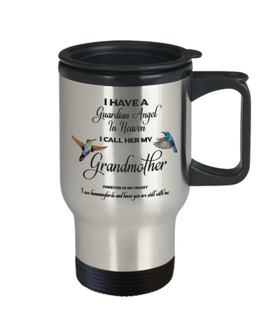 Grandma Memorial Gift Guardian Angel in Heaven Grandmother Grandparent Remembrance Travel Mug Gifts